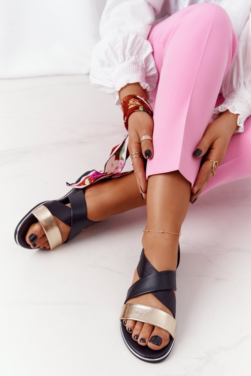 Leather Sandals With Drawstrings Gold-Black Apulia