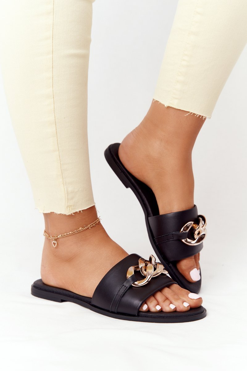 Leather Slippers With Chain Nicole 2652 Black