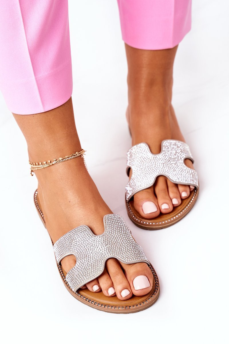 Leather Slippers With Cubic Zirconia Silver Modena