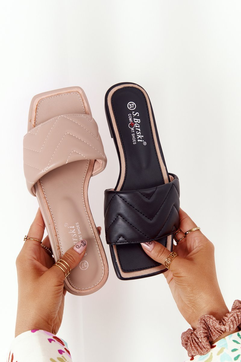 Leather Slippers With Quilting S.Barski 331-42 Cappuccino