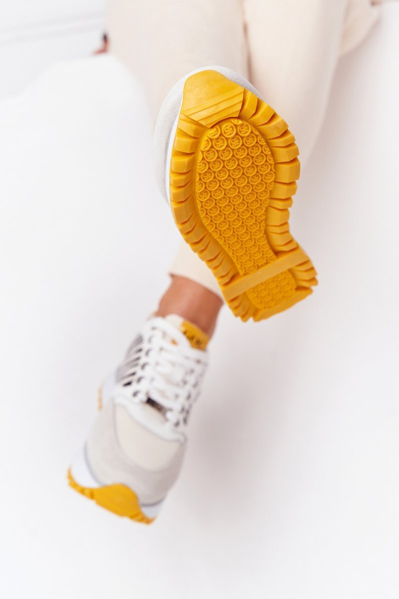 Leather Sport Shoes On A Platform GOE HH2N4001 White-Yellow