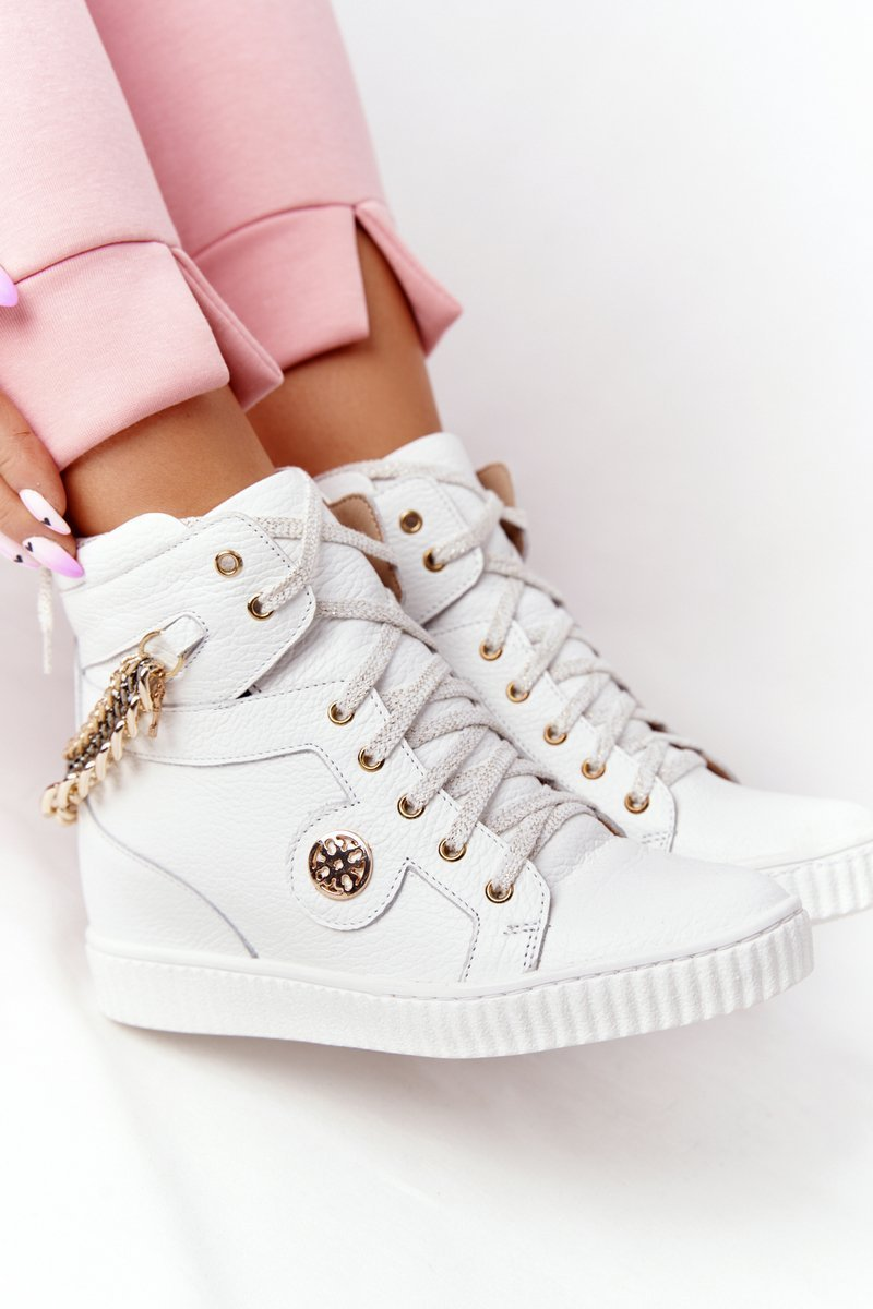 Leather Wedge Sneakers Lewski Shoes 3004-0 White
