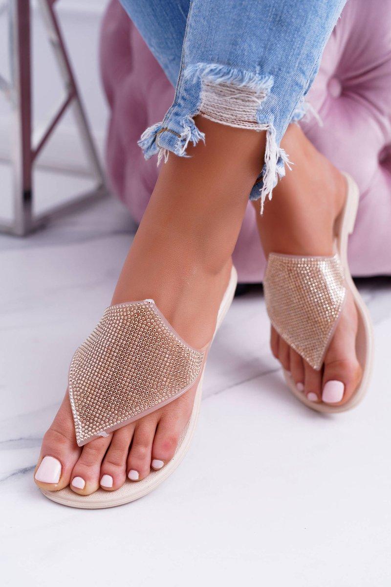 Lu Boo Beige Rubber Women's Flip Flops Anika
