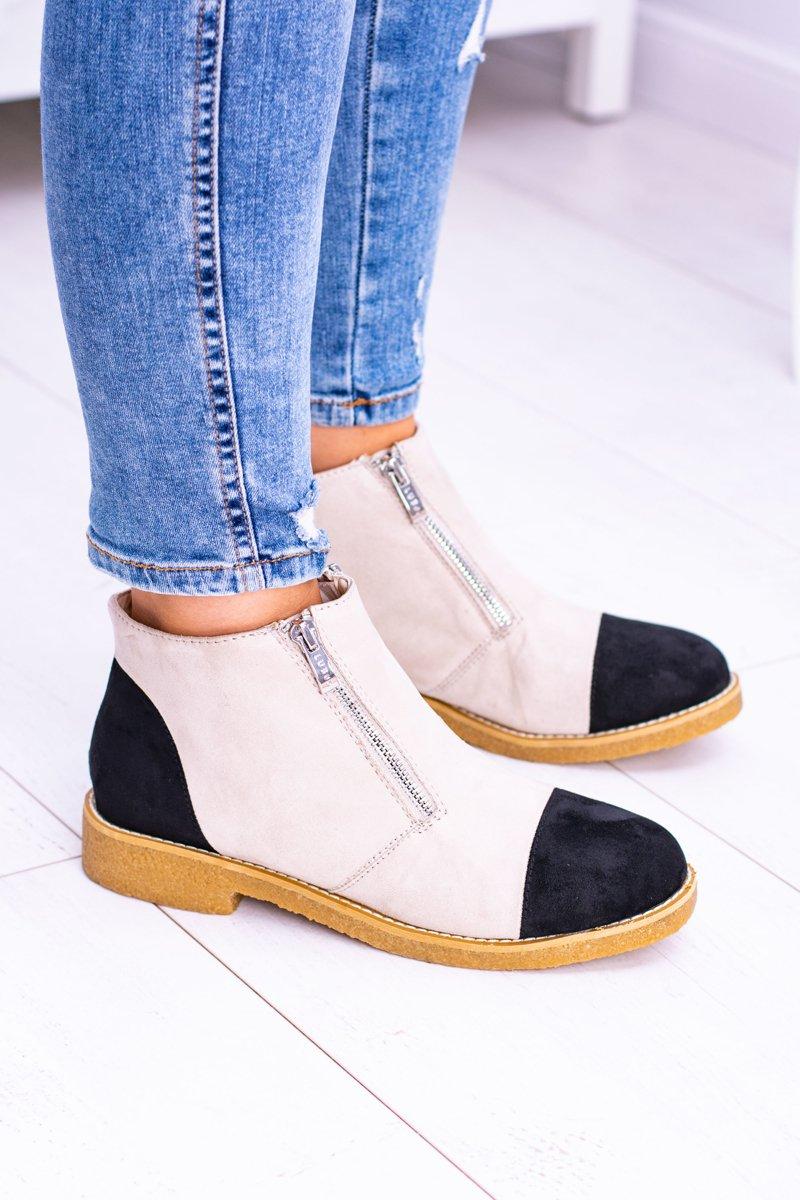 Lu Boo Beige Suede Women Boots With Sliders Inez