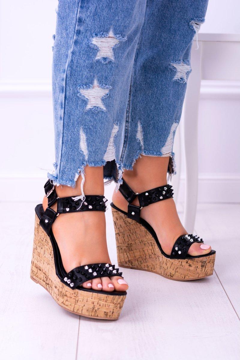 Lu Boo Black Womens Sandals On Wedges Valeria