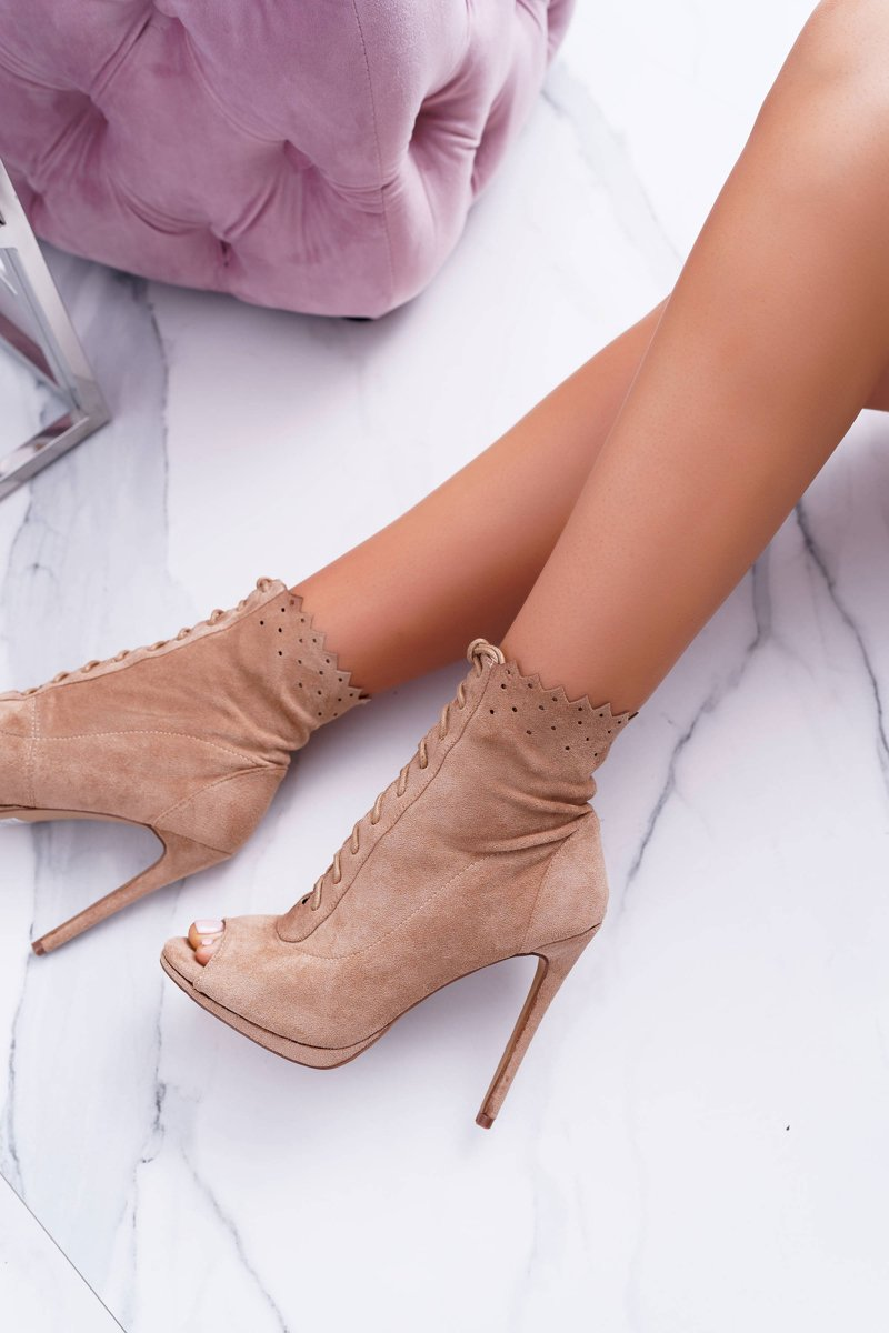 Lu Boo Laced Beige Booties Sandals On High Heels Natasha