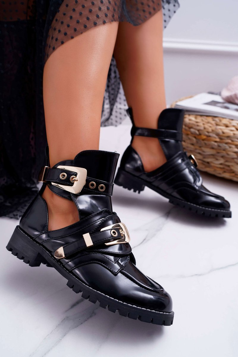 Lu Boo Lacquered Boots With Cutouts Rock Girl Black