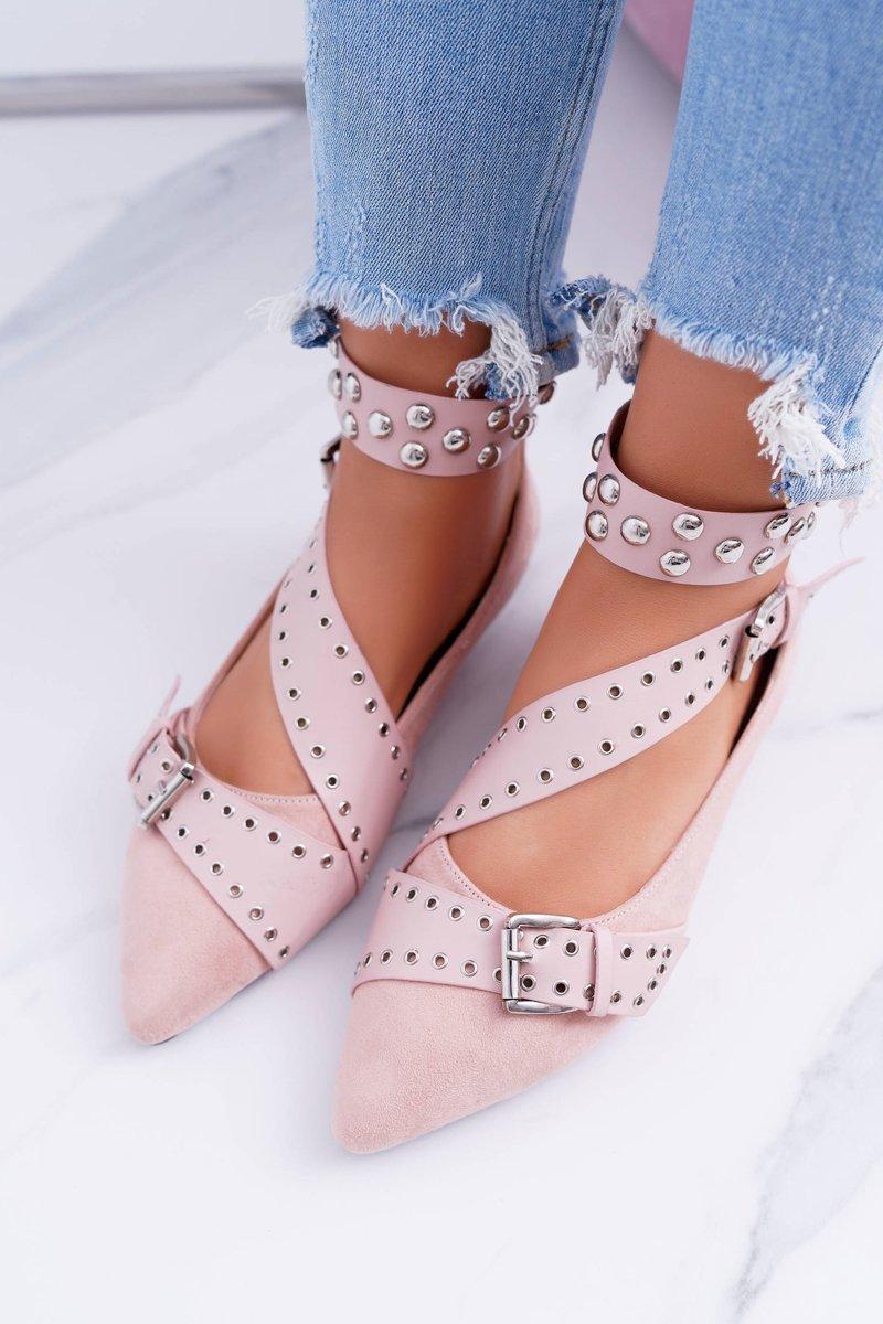 Lu Boo | Pink Ballerina Belts Rivets In Spike Esteria