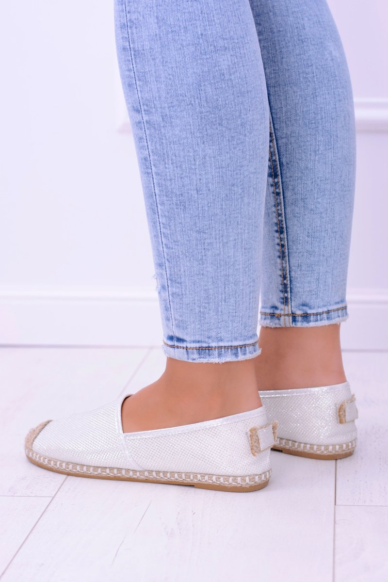 Lu Boo White Women Espadrilles Slip On Brocade Miravet