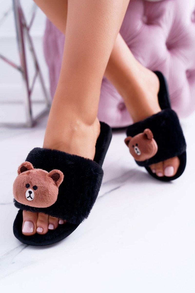 Lu Boo Women Plush Black Flip-flops With Teddy
