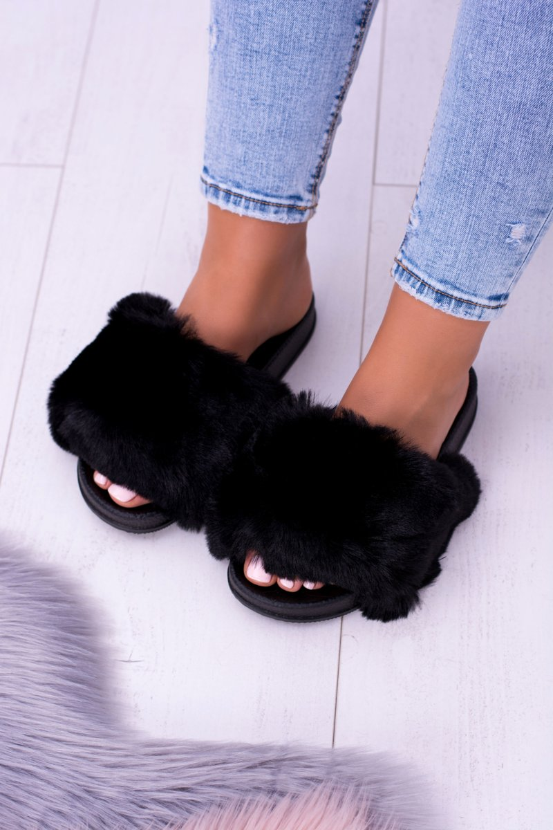 Lu Boo Women's Black Slippers With Fur FUR XXL
