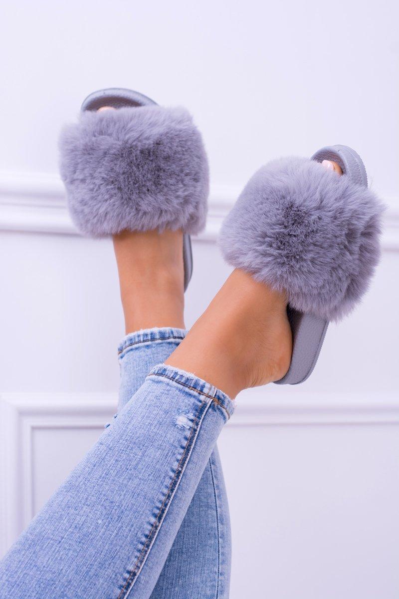 Lu Boo Women's Grey Slippers With Fur FUR XXL