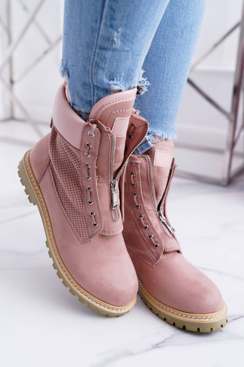 Lu Boo Women's Pink Suede Boots Nancy