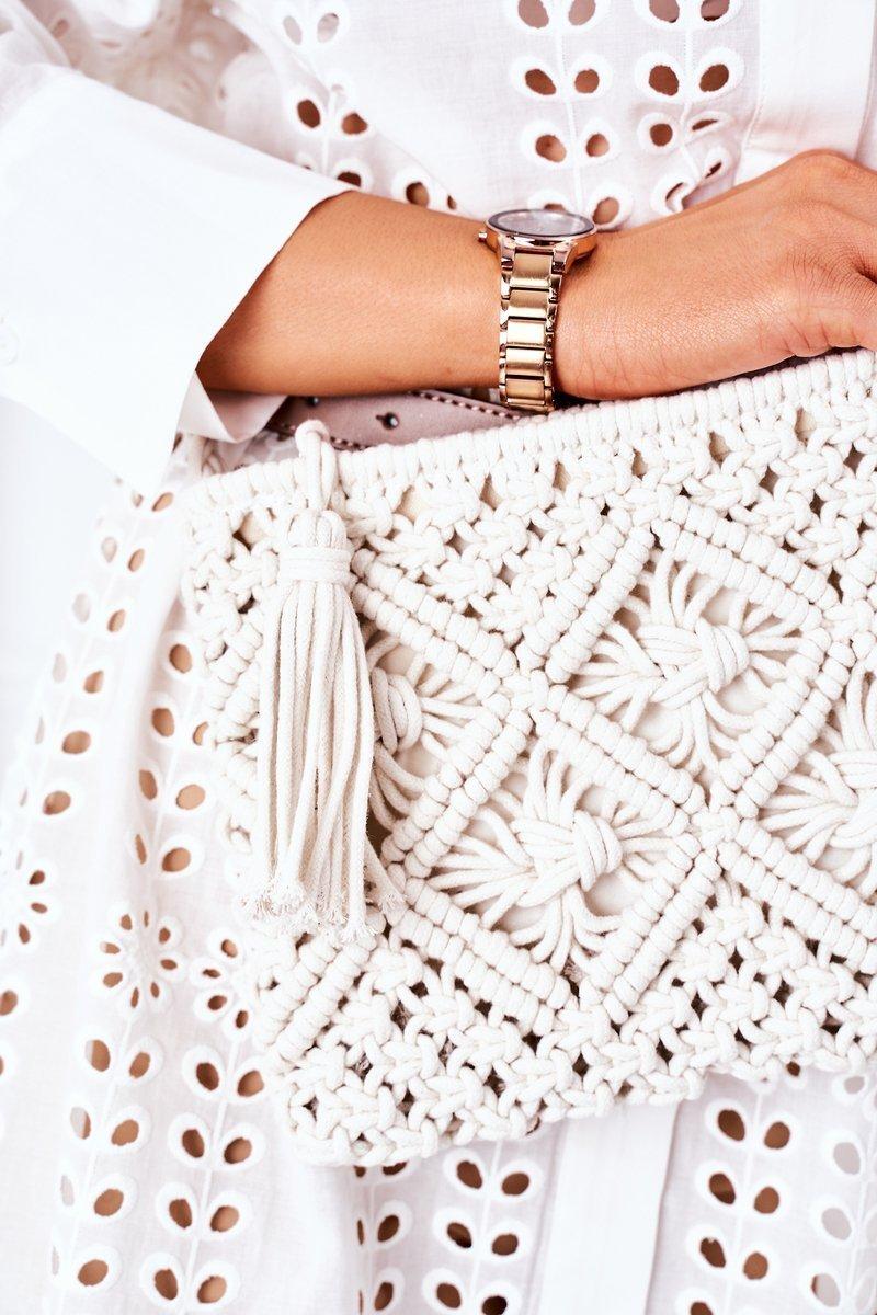 Macrame Messenger Bag BRUNO ROSSI White