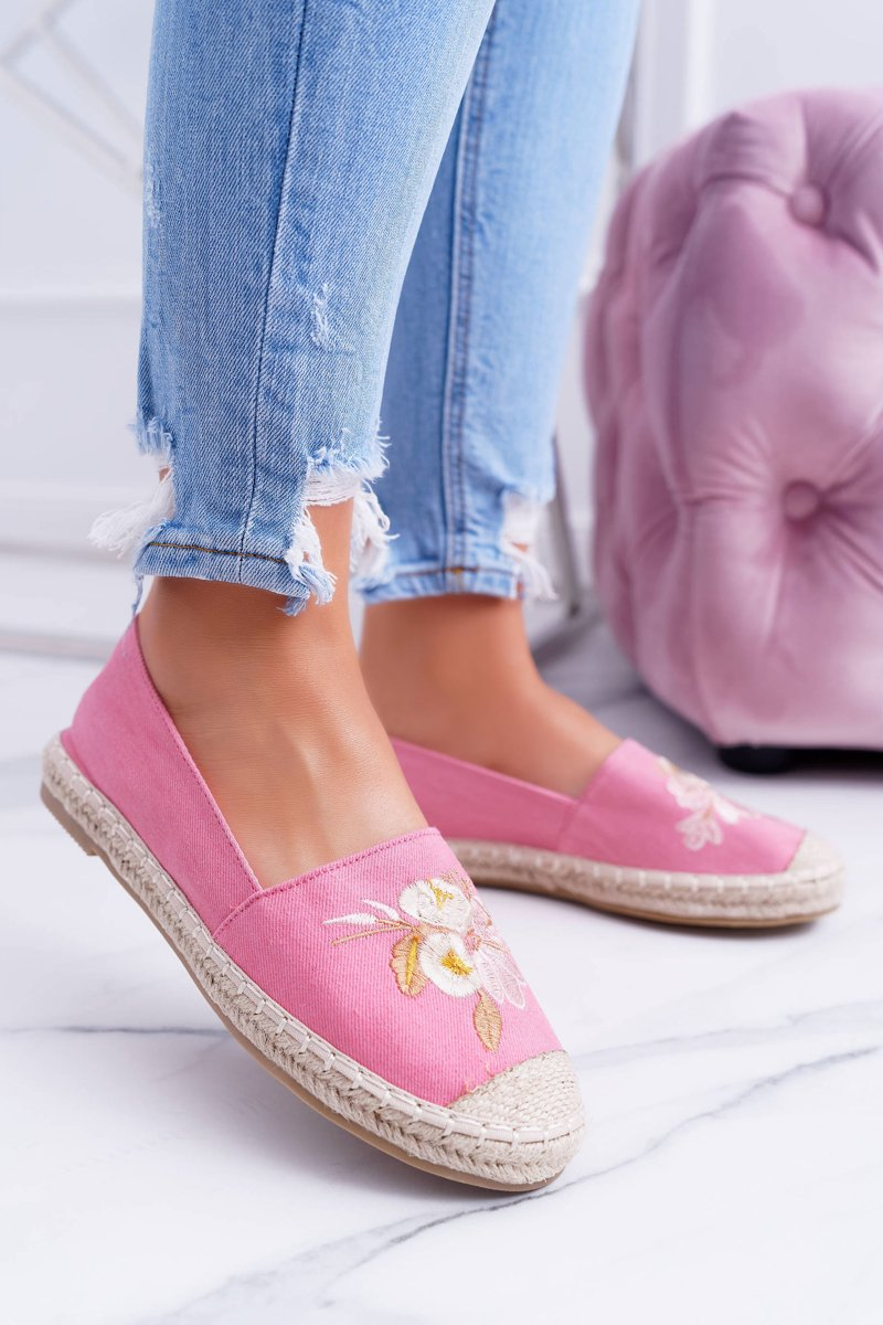 Materiałowe Różowe Damskie Espadryle Slip On Kwiaty Wild