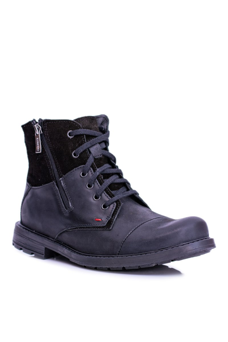 Men's Boots Black Leather With Zipper KOMODO 871