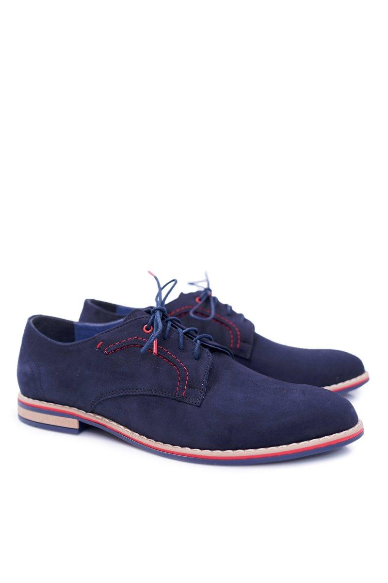 Men's Brogues Bednarek Elegant Leather Nubuck Navy Blue Pietro