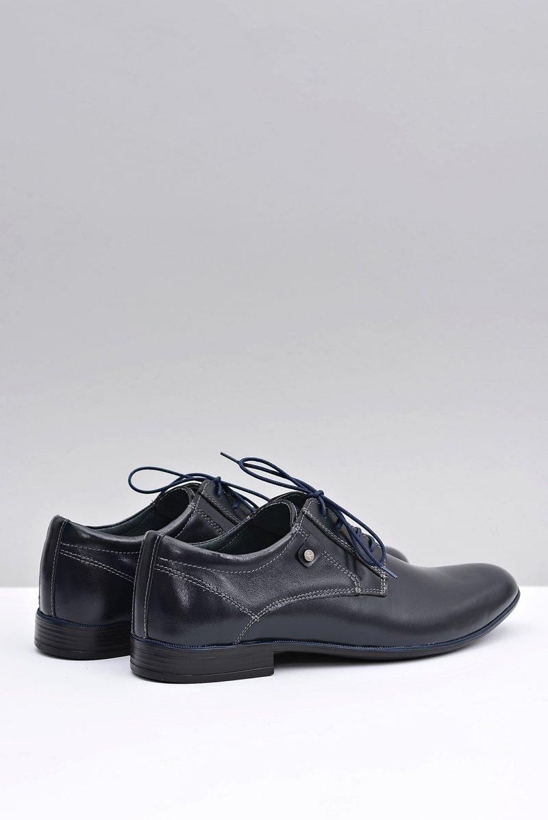 Navy Blue Leather Elegant Walking Shoes Massimiliano
