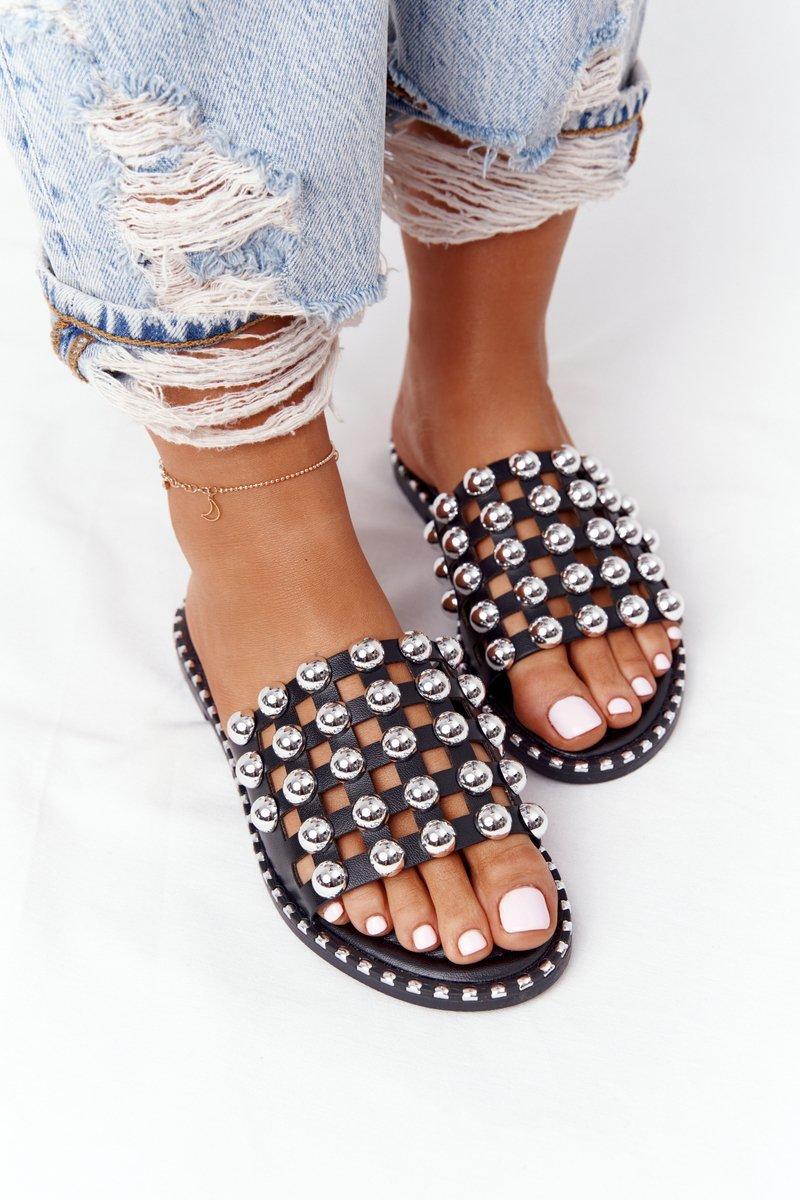Openwork Leather Slippers With Rhinestones Black Alana