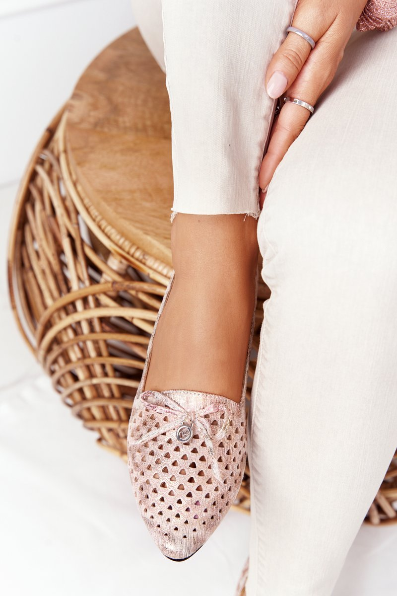 Openwork Loafers On Gold Heels Vinceza 21-10602 Multicolour