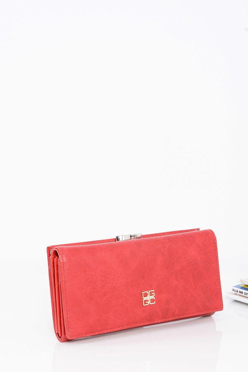 Piękny Damski Czerwony Portfel Na Bigiel Zatrzask