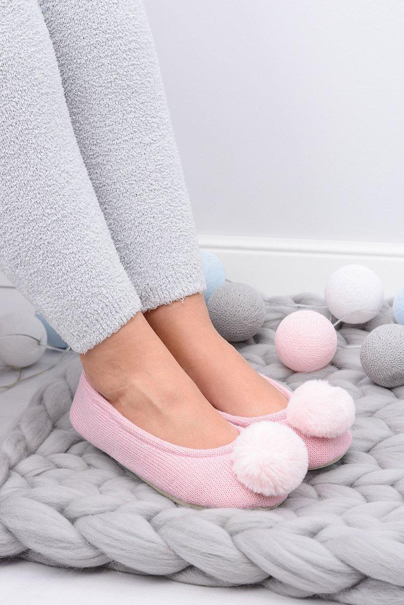 Różowe Damskie Domowe Balerinki SOXO Z Pomponem