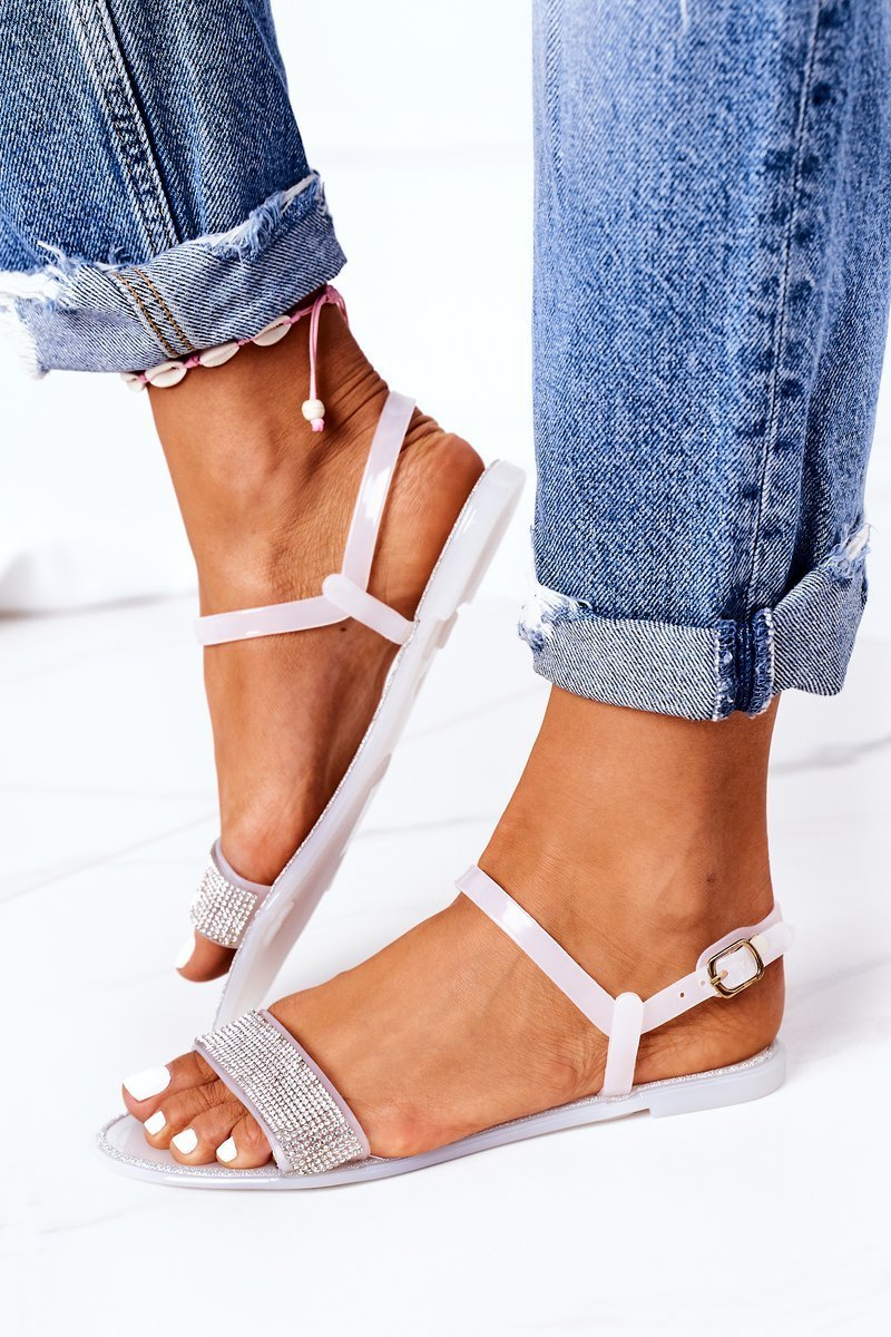 Rubber Sandals With Glitter White Beach Time