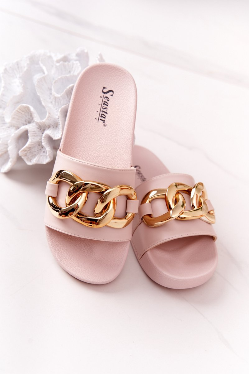 Rubber Slippers With Chain Beige One Moment