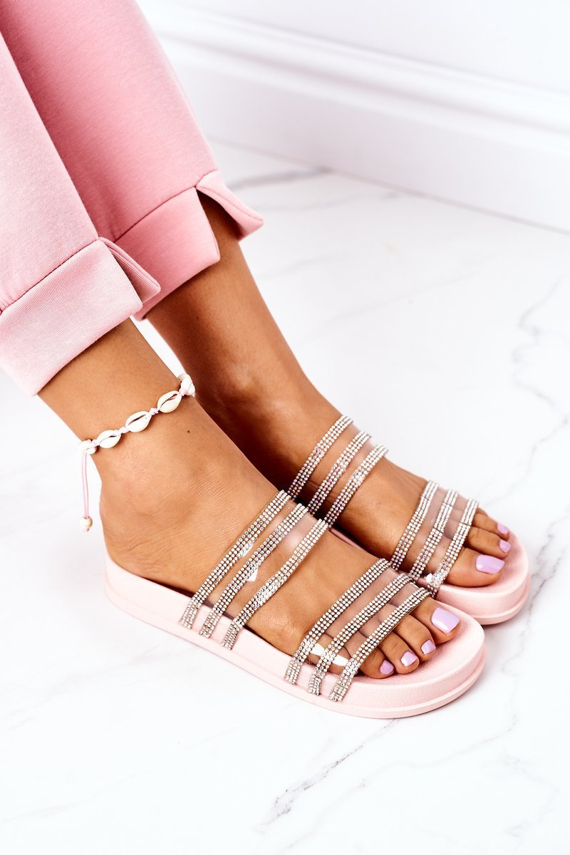 Rubber Slippers With Cubic Zirconia Pink Miss You