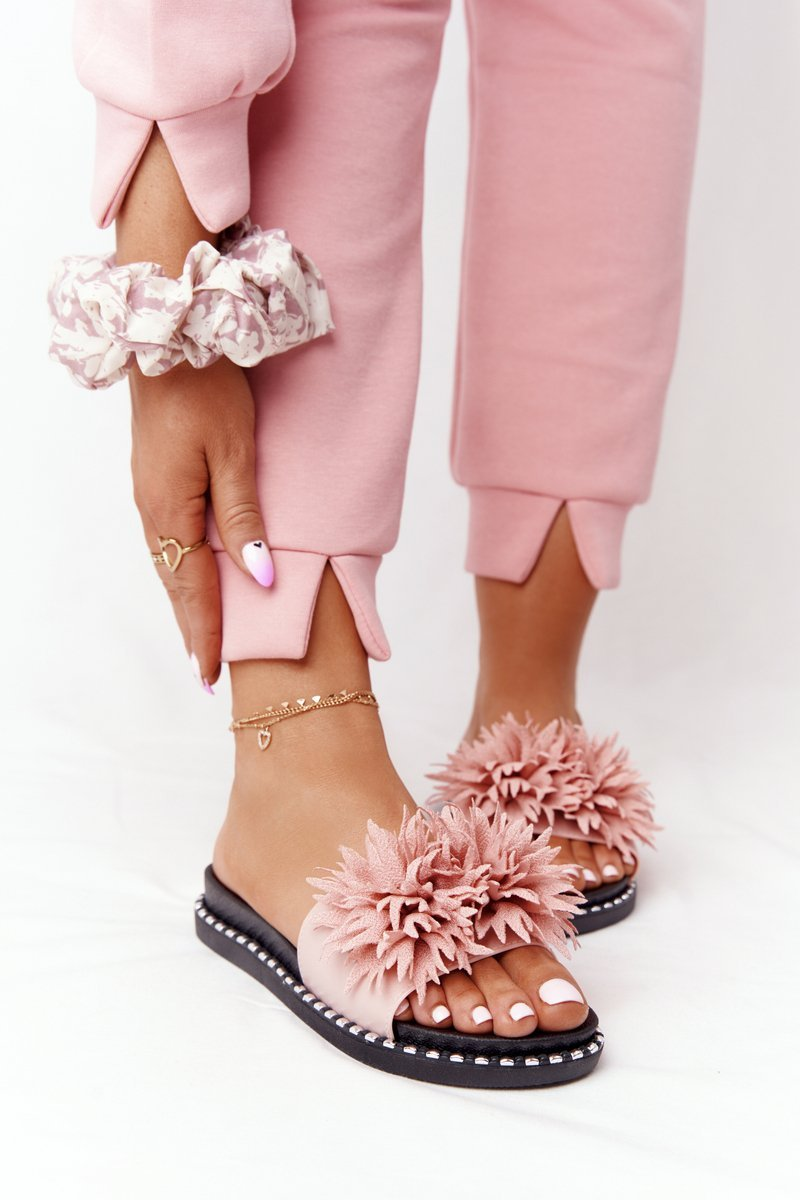 Rubber Slippers With Rhinestones Vinceza 20-30101 Pink