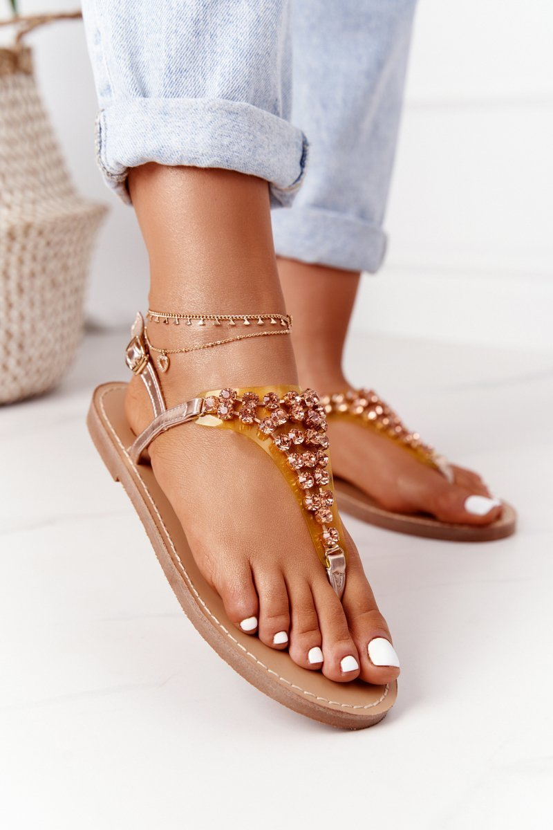 Sandals Flip-Flops With Jewelery Stones Lu Boo Champagne