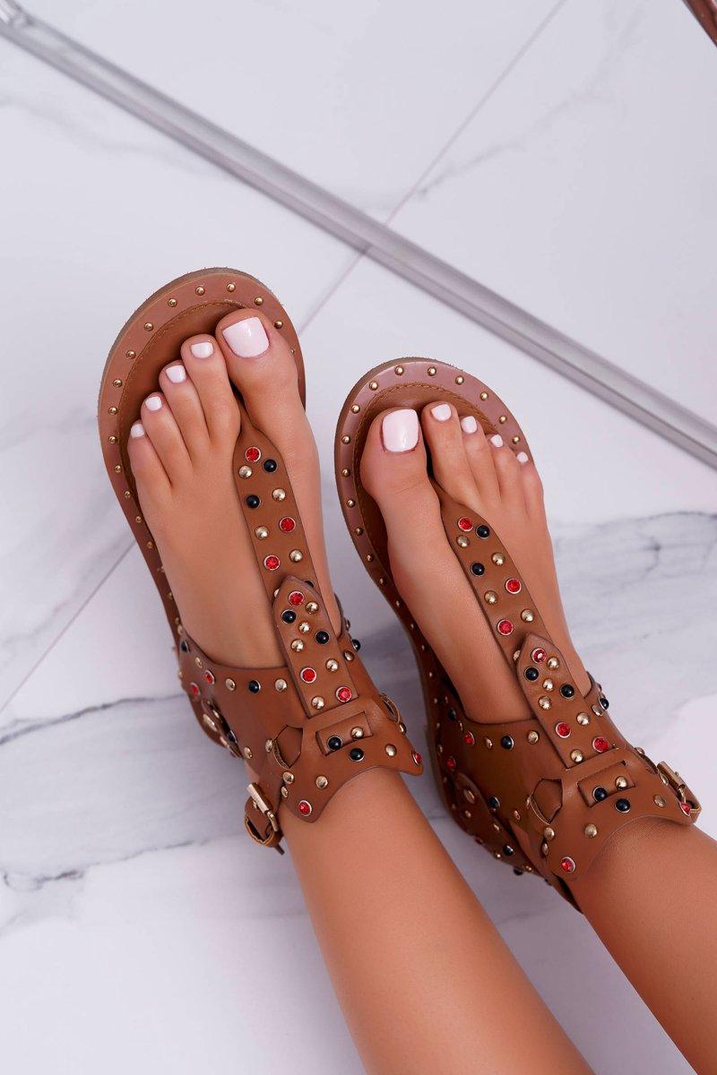 Sandals Flip-flops With Rhinestones Lu Boo Camel