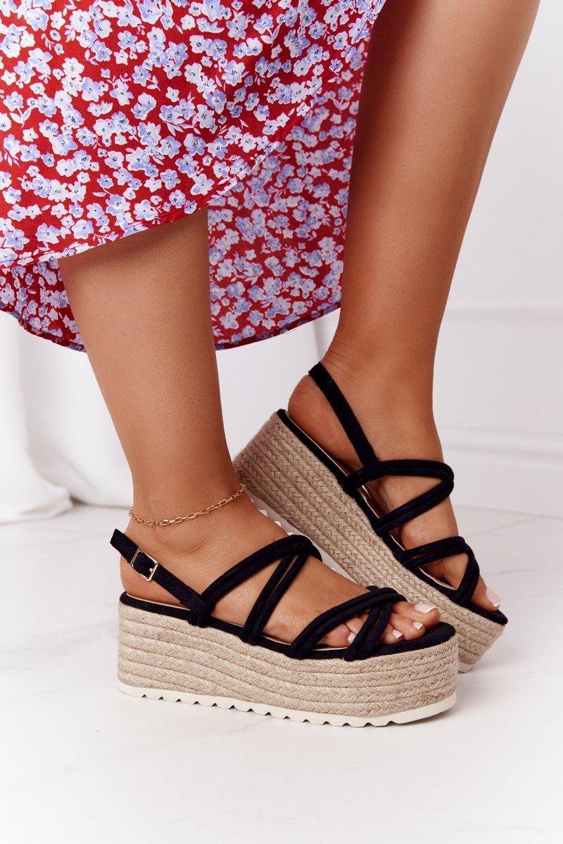 Sandals On A Braided Platform Black Crazy In Love
