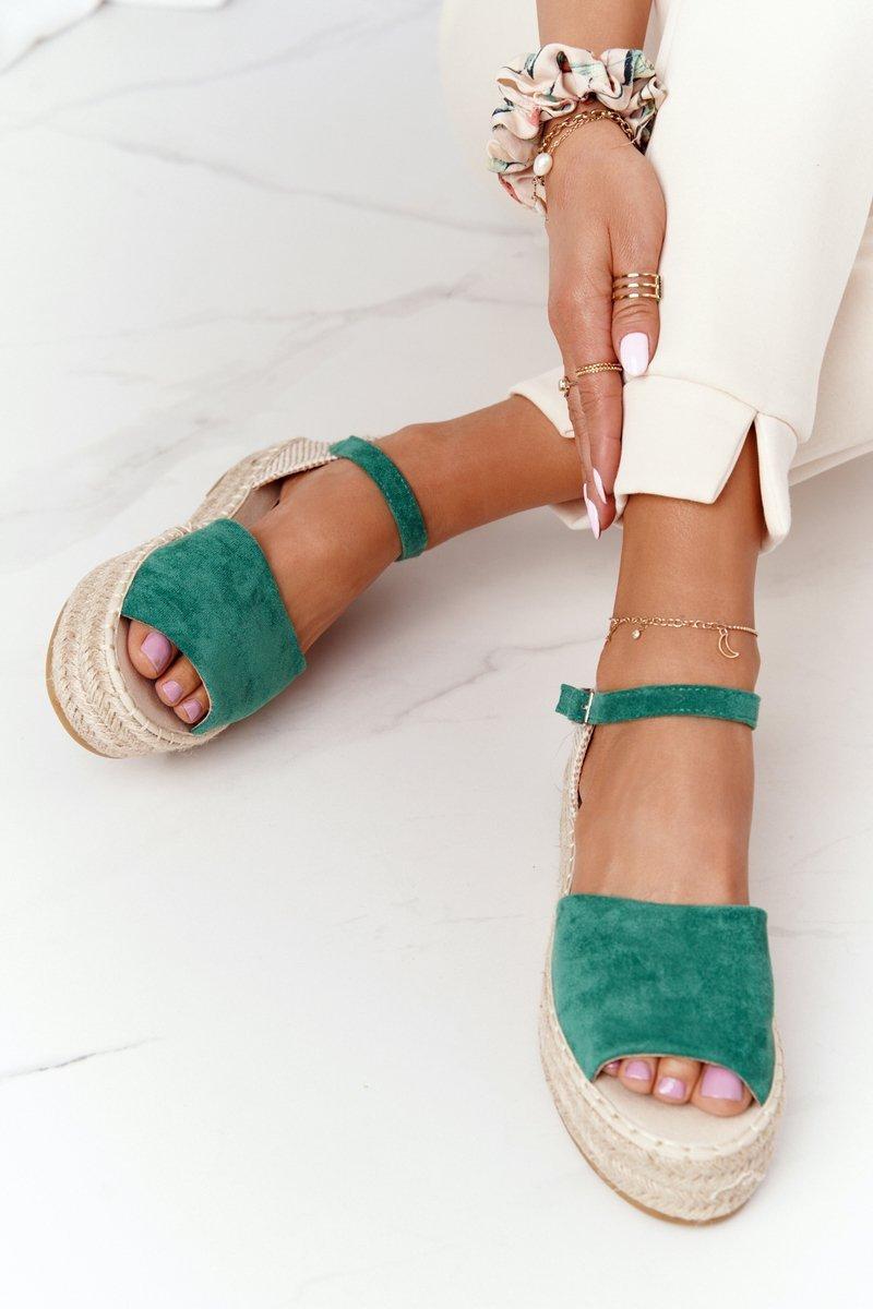 Sandals On A Braided Platform Green Megara