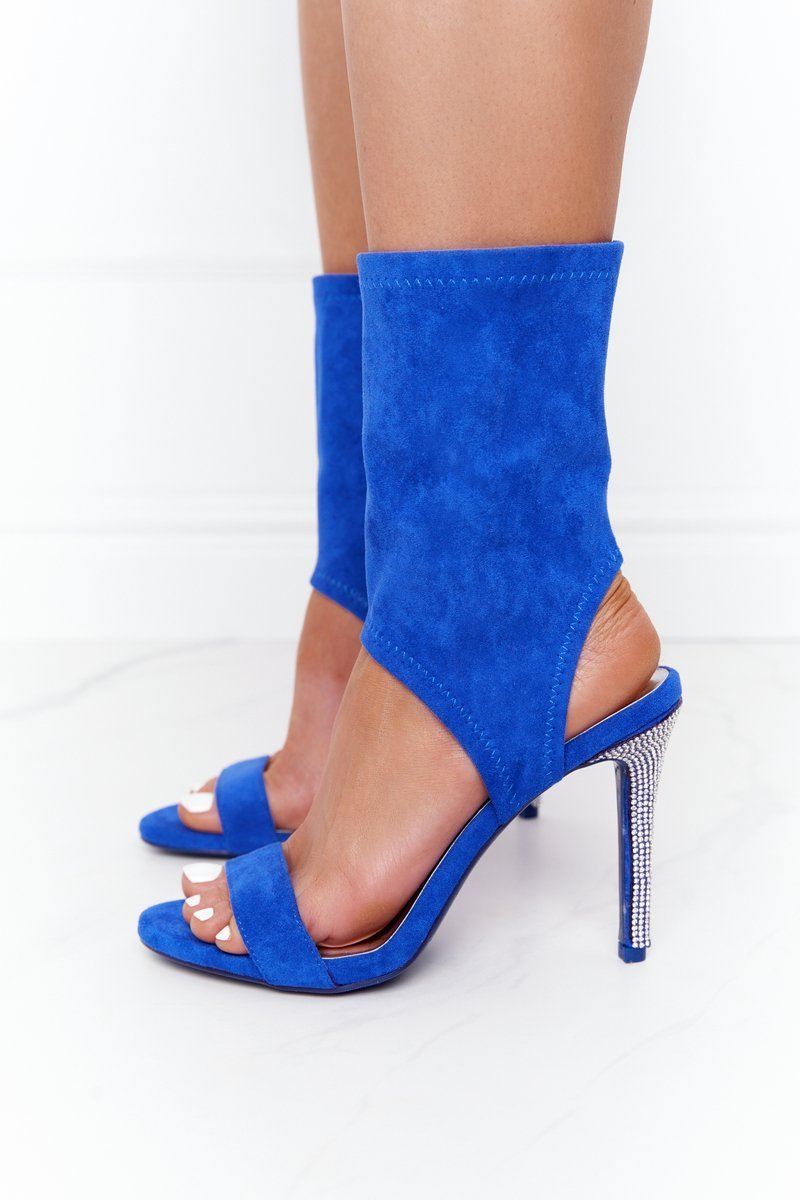 Sandals On A High Heel With Cubic Zirconia Lu Boo Blue