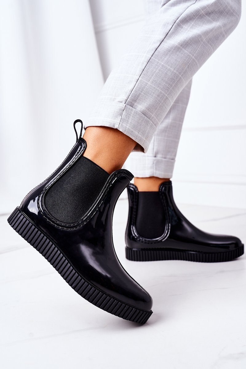 Shiny Rubber Boots Galoshes On A Platform Black Waterfall