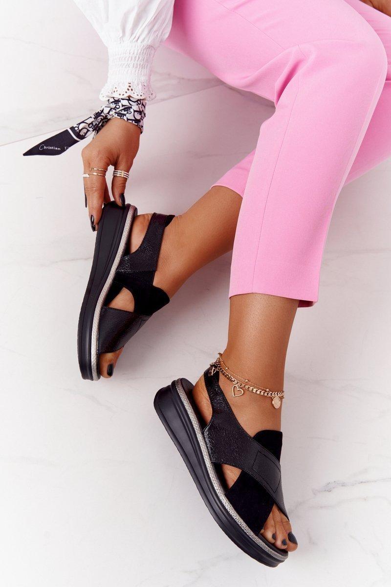 Slip-On Sandals On A Platform Sergio Leone SK029 Black