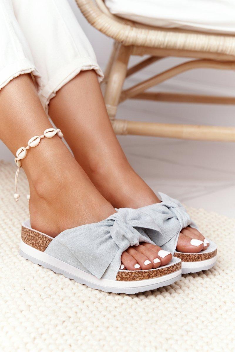 Slippers On A Platform Light Blue So Comfy