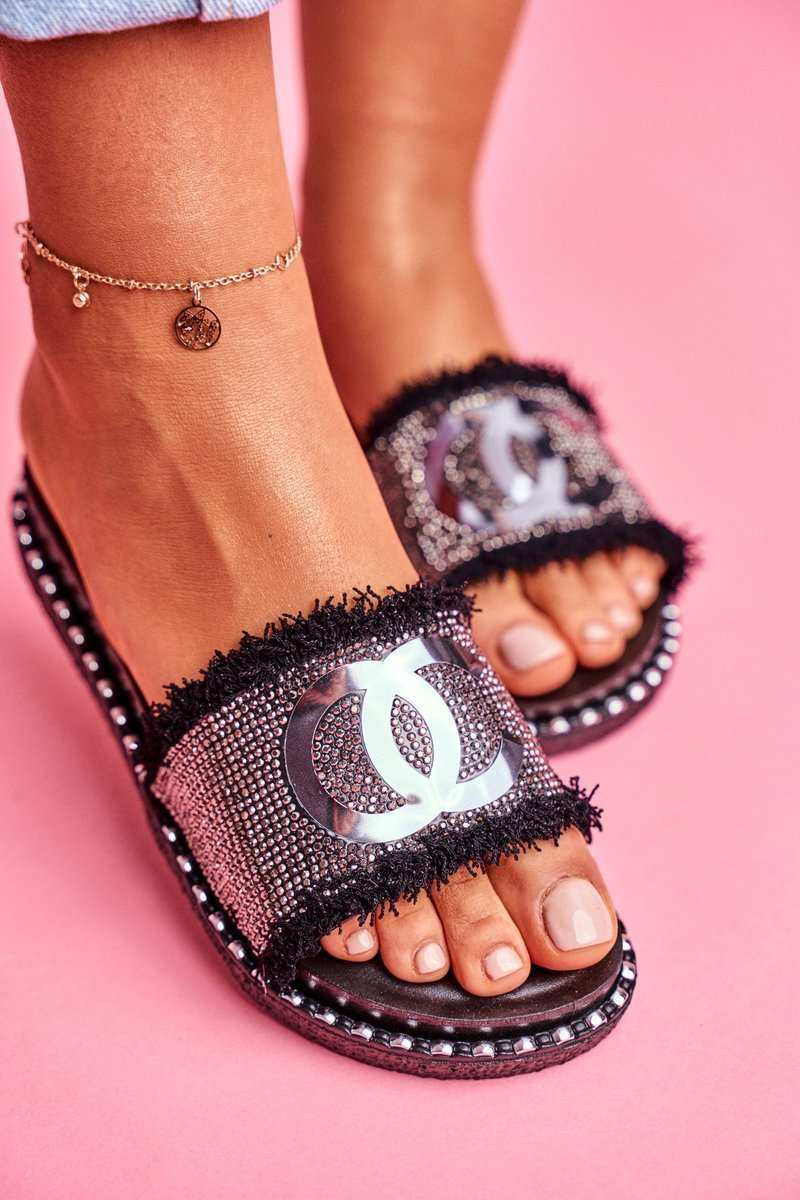 Slippers With Crystals On The Platform Black Candy Man