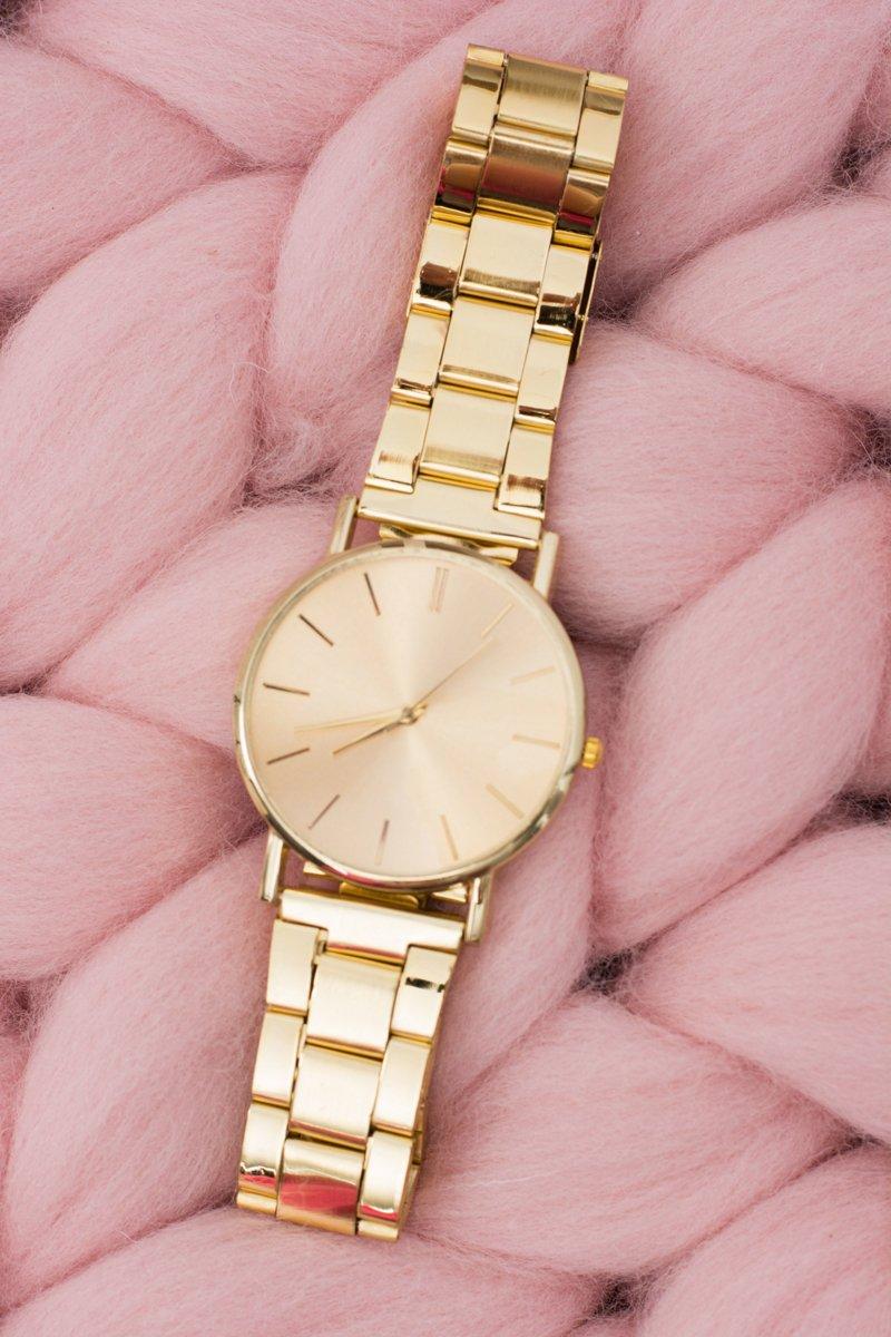 Stylish Gold Women Watch with Bracelet