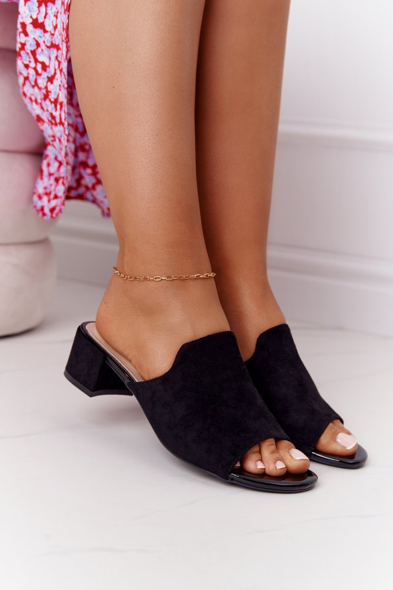 Suede Heeled Sippers Sergio Leone KL313 Black