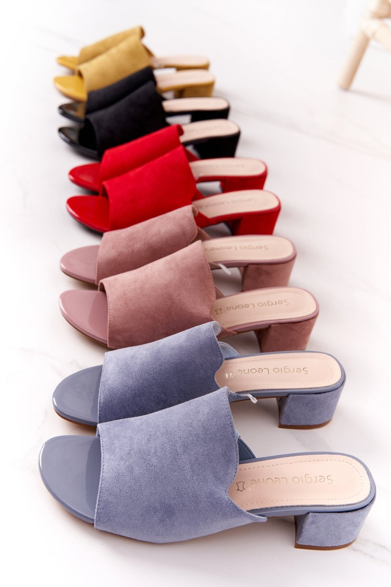 Suede Heeled Slippers Sergio Leone KL313 Pink