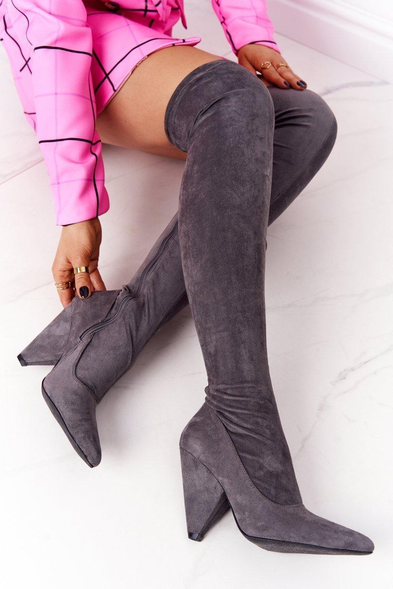 Suede High Heel Boots Lu Boo Grey
