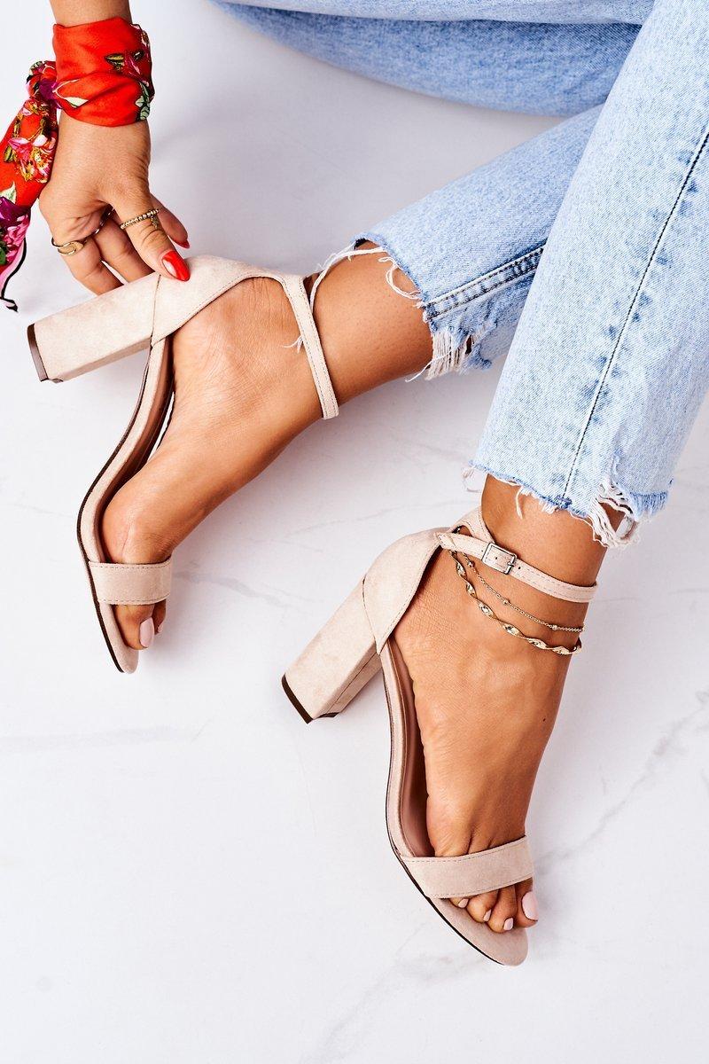 Suede High Heel Sandals Beige Florence