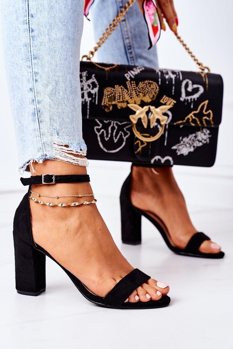 Suede High Heel Sandals Black Florence