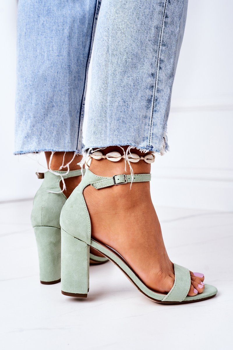 Suede High Heel Sandals Green Florence