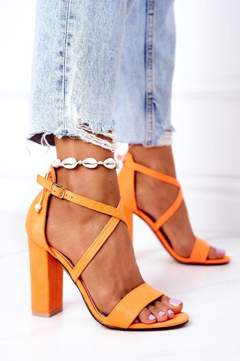 Suede High Heel Sandals Orange Dance With Me