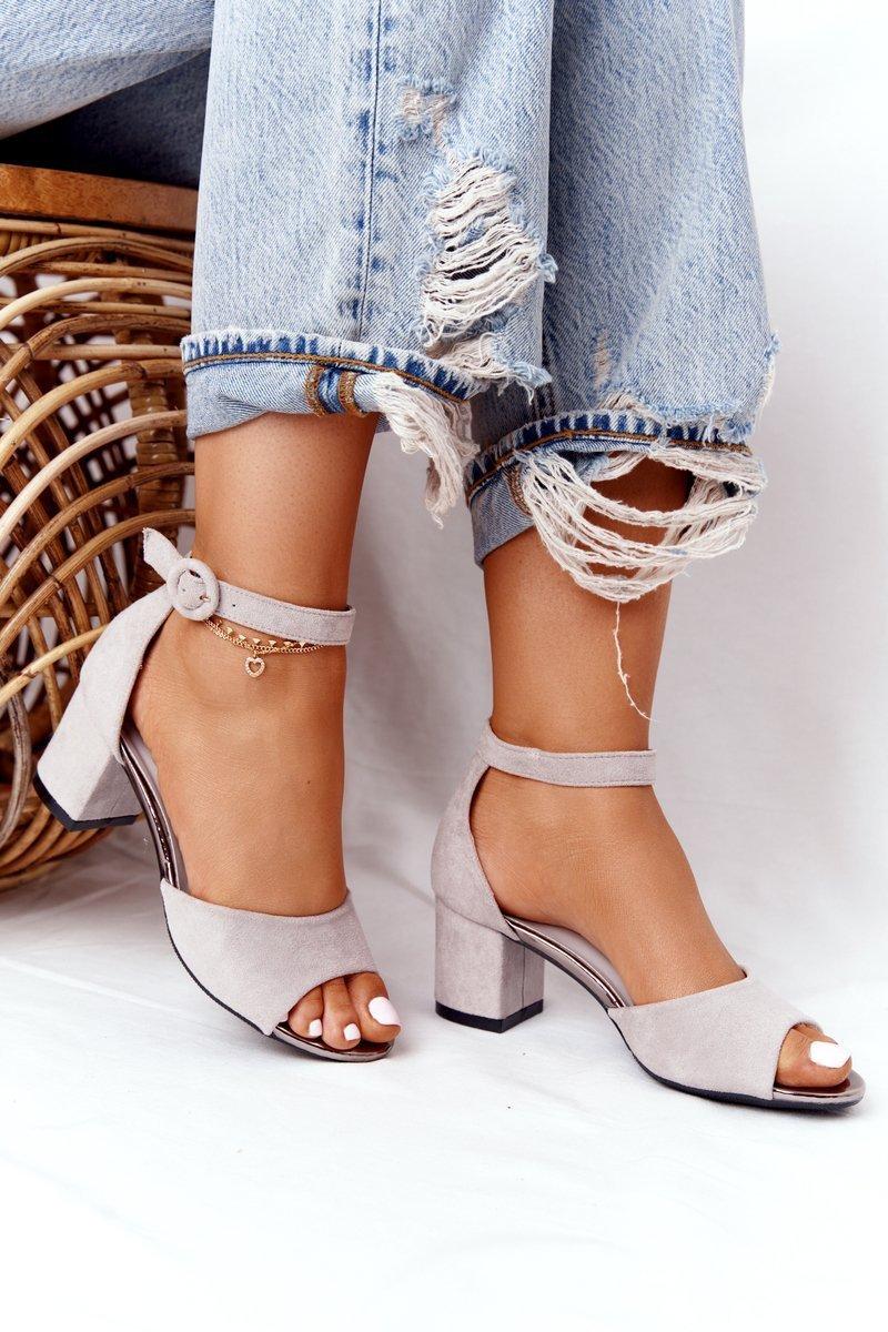 Suede High Heel Sandals Vinceza 21-20100 Grey