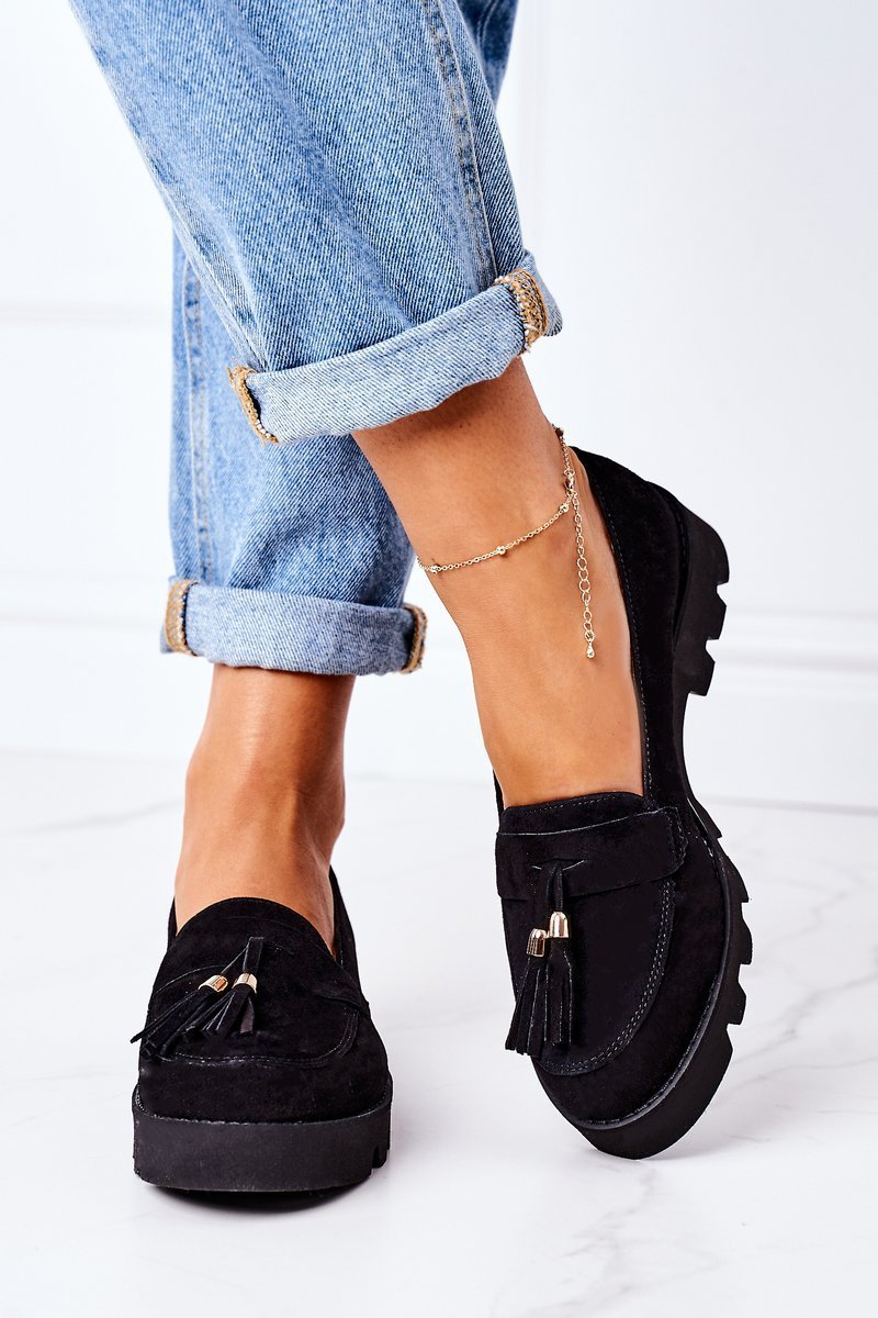 Suede Moccasins Lewski Shoes 3053 Black