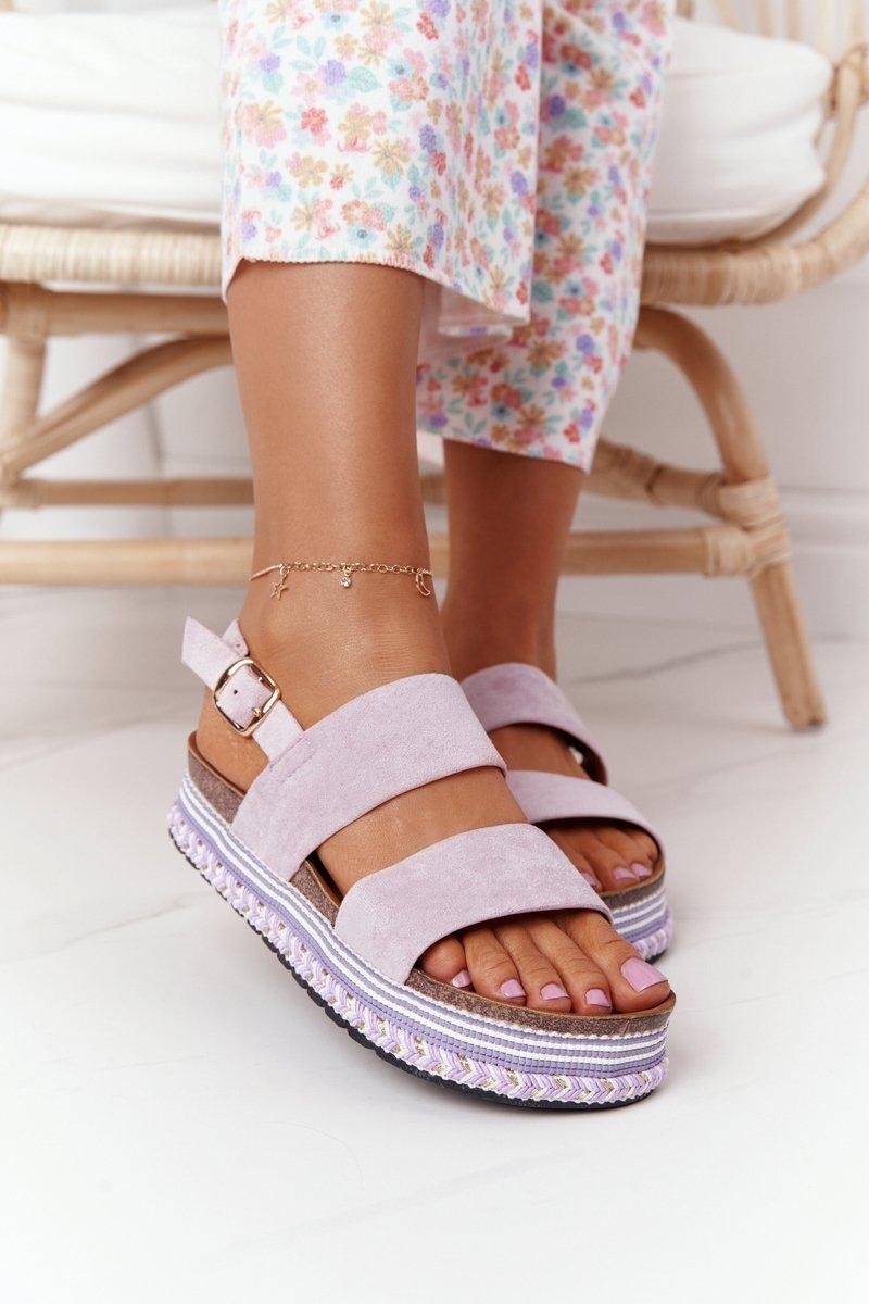 Suede Sandals On A Platform Purple Olimpia